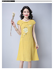 Women's Casual Simple Chiffon Dress,Floral Jewel Knee-length Short Sleeve Chiffon Summer High Rise Inelastic Thin