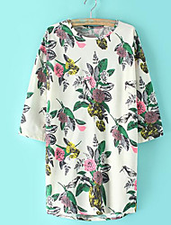 Women's Daily Simple Blouse,Floral Round Neck ½ Length Sleeve Polyester