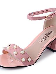 Для женщин Сандалии Кашемир Лето Для прогулок Жемчуг На толстом каблуке Черный Желтый Розовый 4,5 - 7 см