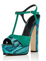 Women's Sandals Gladiator Leatherette Summer Office & Career Party & Evening Dress Casual Buckle Split Joint Chunky Heel Platform Green