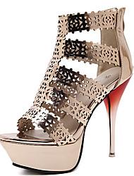 Damen Sandalen PU Sommer Reißverschluss Stöckelabsatz Gold 10 - 12 cm