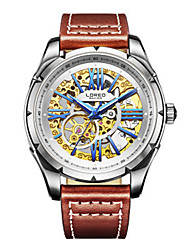Men's Skeleton Watch Fashion Watch Mechanical Watch Quartz Automatic self-winding Leather Genuine Leather Band Brown