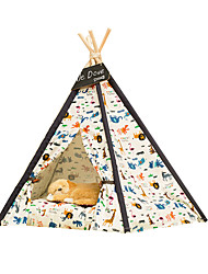 Cat Dog Bed Pet Baskets Geometric Portable Foldable Tent Random Color