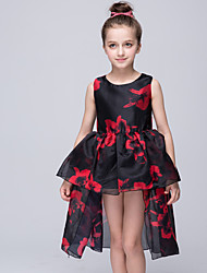 Ball Gown Asymmetrical Flower Girl Dress - Organza Jewel with Pattern / Print