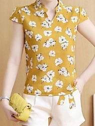 Feminino Camisa Calça Conjuntos Casual Moda de Rua Primavera Verão,Estampado Colarinho Chinês Manga Curta