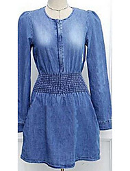 Teou US big buttons Slim waist denim long-sleeved dress 0.19KG