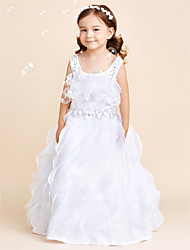 Princess Floor Length Flower Girl Dress - Organza Satin Scoop with Crystal Beading Ruffles Gore