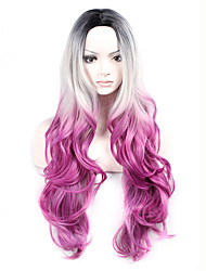 Hot Selling Black To Grey To Purple Color Long Wave Women Wigs Heat Resisting Syntheitc Wigs