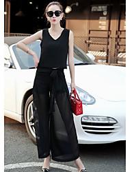 Mujer Formal Simple Oficina/Carrera Formal Verano T-Shirt Pantalón Trajes,Escote en Pico Un Color Sin Mangas Microelástico