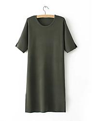 Ample Courte Tee Shirt Robe Femme Sortie Décontracté / Quotidien simple Chic de Rue,Couleur Pleine Col Arrondi Mi-long Manches Courtes