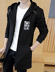 Men's Casual/Daily Simple Spring Trench Coat,Solid Hooded Long Sleeve Long Polyester