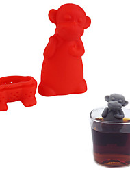 Silicone Monkey Tea Infuser Loose Leaf Herb Spiece Filter Tea Stainer Mug Cup Random Color