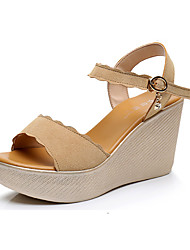 Women's Sandals Club Shoes Synthetic Summer Casual Wedge Heel Green Ruby Yellow Black 3in-3 3/4in