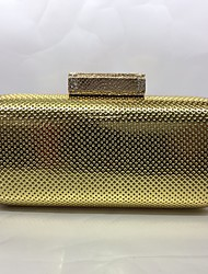 Abendtasche PU Druck-Verschluss Champagner Gold Silber