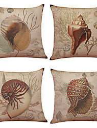 Set of 4 Retro Starfish Pattern  Linen Pillowcase Sofa Home Decor Cushion Cover(18*18)