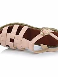 Damen Sandalen Komfort Leuchtende Sohlen PU Sommer Normal Komfort Leuchtende Sohlen Weiß Grau Rosa Flach