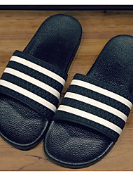 Men's Slippers & Flip-Flops Comfort PVC Leather Spring Casual Comfort Black Flat