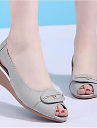 Femme Sandales Chaussures de Demoiselle d'Honneur Fille Cuir Eté Décontracté Chaussures de Demoiselle d'Honneur Fille Talon CompenséNoir