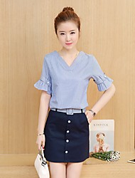 Women's Going out Simple Spring T-shirt Dress Suits,Solid U Neck Long Sleeve Cotton