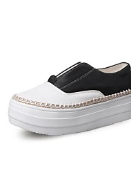 Women's Loafers & Slip-Ons Customized Materials Spring Fall Walking Split Joint Flat Heel Platform Creepers White Black Silver 1in-1 3/4in