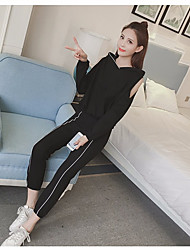 Women's Daily Sport Spring Fall T-shirt Pant Suits,Solid Hooded Long Sleeve