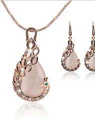 Mulheres Conjunto de Jóias Pingentes Sets nupcial Jóias Opal imitação Moda Vintage Euramerican Clássico Strass Opala Caído1 Colar 1 Par