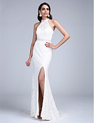 Sheath / Column High Neck Court Train Lace Formal Evening Dress with Beading Crystal Detailing Sash / Ribbon by TS Couture®