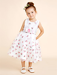 Princess Knee Length Flower Girl Dress - Cotton Organza Tulle Jewel with Bow(s) Embroidery Sash / Ribbon
