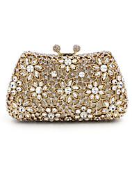 Women Evening Bag Silk All Seasons Casual Event/Party Wedding Minaudiere Crystal/ Rhinestone Snap Gold Handbag Clutch More Colors