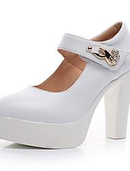Mujer Tacones Zapatos formales Cuero Primavera Otoño Zapatos formales Tacón Robusto Blanco Negro 12 cms y Más