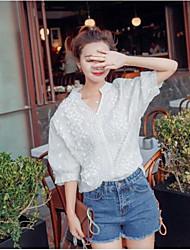 Damen Schmetterling Niedlich Alltag Normal T-shirt,V-Ausschnitt ¾-Arm Nylon