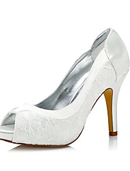 Women's Dyeable Wedding Heels Club Shoes Comfort  Shoes Silk Spring Fall Wedding Outdoor Office & Career Party & Evening Dress Stiletto Heel Ivory