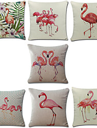 Set Of 7 Mediterranean Style Flamingo Pillow Cover Creative Cotton/Linen Pillow Case Sofa Cushion Cover