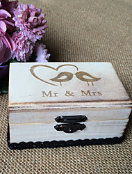 Wooden couple bird dyed water country effect ring box - grey