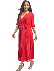 Women's Plus Size Casual/Daily Street chic Loose DressSolid V Neck Maxi Half Sleeve Polyester Cotton Blend Milk Fiber Summer Mid Rise Stretchy Thin