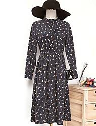 Ample Robe Femme Chinoiserie,Fleur Col Arrondi Maxi Manches Longues Soie Printemps Eté Taille Haute Micro-élastique Fin