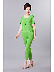 Women's Casual/Daily Simple Summer T-shirt Skirt Suits,Solid Round Neck 1/2 Length Sleeve Tassel Micro-elastic