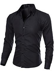 Для мужчин На каждый день Рубашка Классический воротник,Шинуазери (китайский стиль) Однотонный Длинный рукав,Хлопок