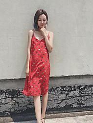 Damen Hülle Kleid-Normal Punkt Gurt Knielang Ärmellos Chiffon - Satin Sommer Mittlere Hüfthöhe Mikro-elastisch Dünn