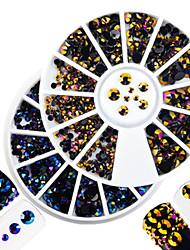 2pcs/set Fashion DIY Beauty Laser Flame&Purple Gold Mixed Size Shining Resin Jelly Rhinestone Nail Art DIY Beauty Decoration