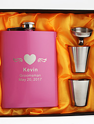 Personalized Stainless Steel 8-oz Fuchsia Flask Set  Hip Flasks