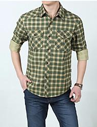 Masculino Camisa Social Para Noite Casual SimplesQuadriculada Algodão Colarinho de Camisa Manga Longa