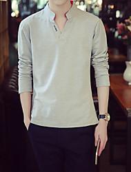 Tee-shirt Homme,Couleur Pleine simple Manches Longues Col en V Coton