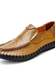 Men's Loafers & Slip-Ons Matte Casual/Daily Comfort Cowhide Spring Summer Fall Casual Walking Split Joint Flat Heel Pool Brown Black size 45 46 47