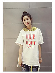 Women's Casual Cute Spring T-shirt,Letter Hooded Long Sleeve Cotton Medium