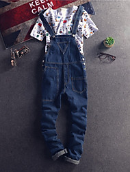 Women's Mid Rise strenchy Overalls Pants,Simple Loose Solid
