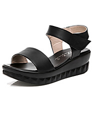 Women's Sandals Club Shoes Leather Summer Casual Wedge Heel Pool Black White 2in-2 3/4in