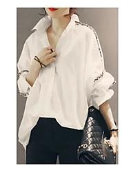 Women's Casual Simple Shirt,Solid Shirt Collar Long Sleeve Cotton