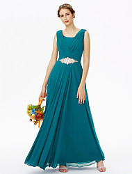 Floor-length Chiffon Elegant Bridesmaid Dress - A-line Scoop with Beading
