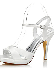 Women's Dyeable Wedding Heels Club Shoes Comfort Shoes Silk Spring Summer Wedding Outdoor Office & Career Party & Evening Dress BuckleStiletto
